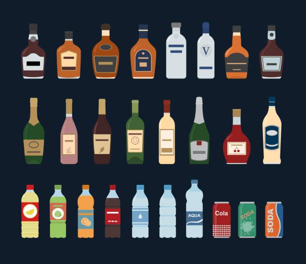 ilustraciones, imágenes clip art, dibujos animados e iconos de stock de gran conjunto de icono de botella agua y alcohol aislado sobre fondo negro. - alcohol
