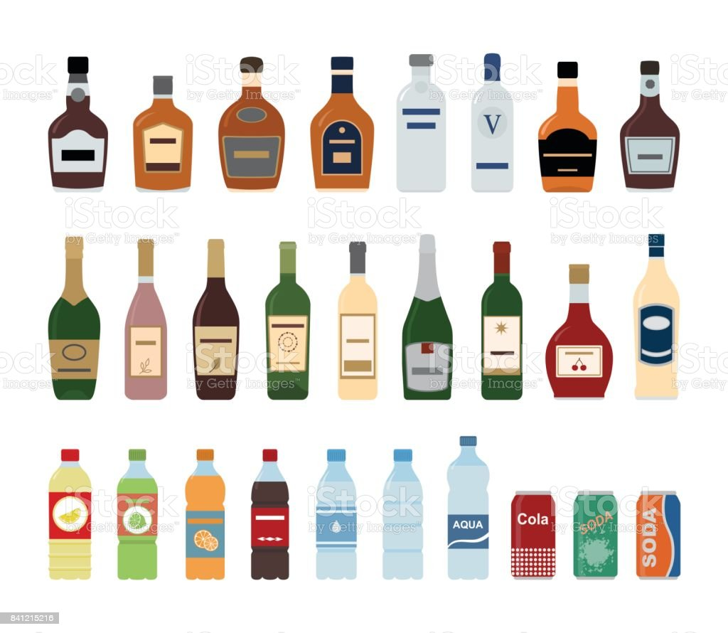 Large set of isolated water and alcohol bottle icon on white background. vector art illustration