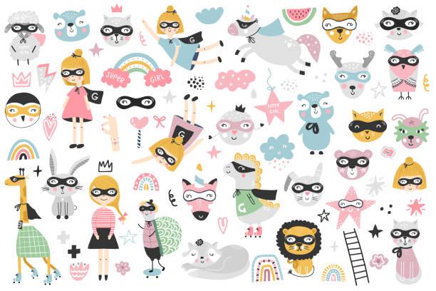 ilustrações de stock, clip art, desenhos animados e ícones de a large set of kids superheroes characters, animals and elements. vector illustration clip art. - baby super hero