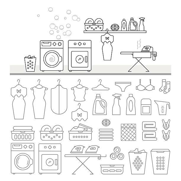 large set of laundry icons. - weichspüler stock-grafiken, -clipart, -cartoons und -symbole
