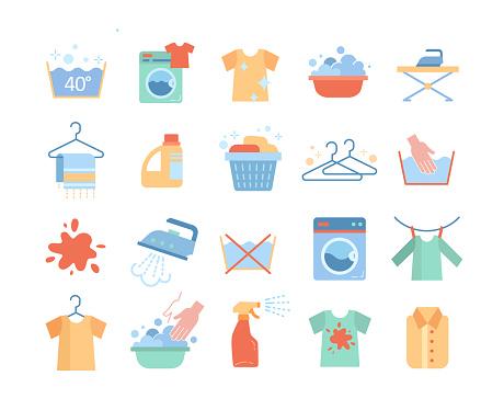 Large set of laundry or washing icons