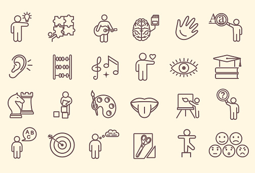 Large set of line drawn icons depicting Cognitive Abilities