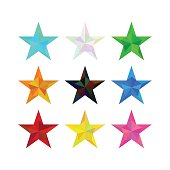 large set of low poly polygon different colors stars