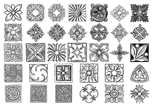 Large set of ornaments, square rosette. Carving patterns of decorative leaves, acanthus, French cartouches, various scroll and shell elements. Tiles art Victorian design and hand engraving.