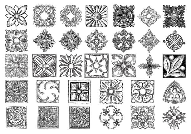 large set of ornaments, square rosette. carving patterns of decorative leaves, acanthus, french cartouches, various scroll and shell elements. tiles art victorian design and hand engraving. - карниз stock illustrations