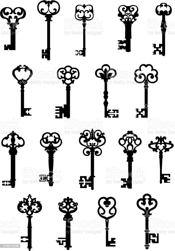 Large set of ornate vintage keys vector art illustration