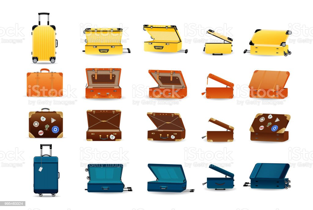 Large set of plastic, leather and metal travel suitcases royalty-free large set of plastic leather and metal travel suitcases stock illustration - download image now