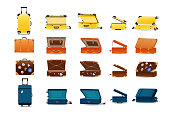 Large set of plastic, leather and metal travel suitcases. Tourist travel suitcases, cases, for business trips, holidays, leisure. Different views, open, closed. Luggage stickers Vector illustration