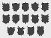Large set of shields over grey background