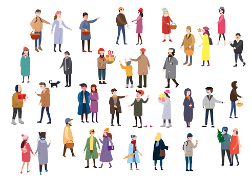 Large set of tiny people, characters, dressed in winter clothes or outerwear, walks and performs outdoor activities
