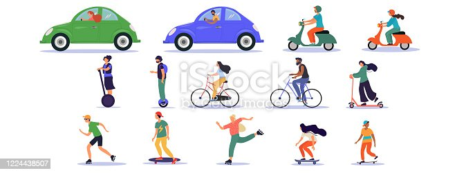 istock Large set of transport and ride icons 1224438507