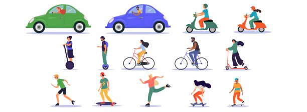 illustrazioni stock, clip art, cartoni animati e icone di tendenza di grande set di icone di trasporto e guida - ciclismo