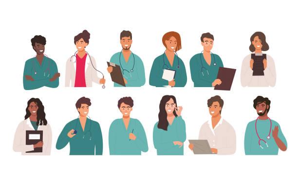 bildbanksillustrationer, clip art samt tecknat material och ikoner med stor uppsättning av tolv olika multiracial läkare - allmänläkare