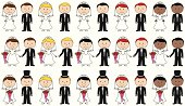 Large Set of Vector Bride and Groom Stick Figures