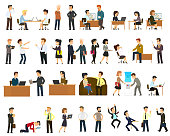 Large set of vector flat character design on businessman working and presenting process gestures, actions and poses. vector illustration in a flat style.