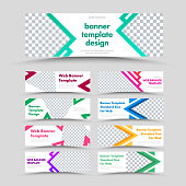 Large set of vector white horizontal web banners with arrows, triangles and place for photo. Standard size for advertising.
