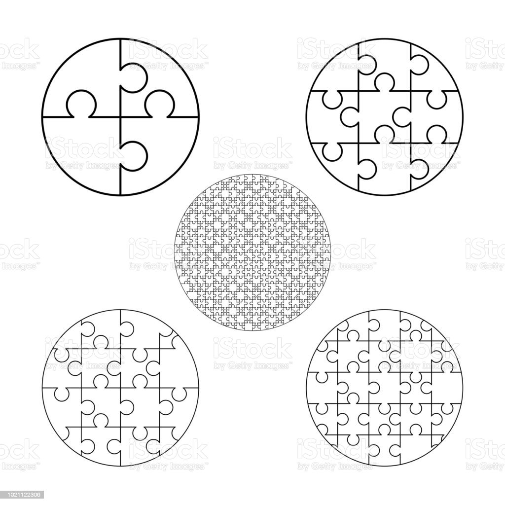 Large Set Of White Puzzles Pieces In Round Shape Jigsaw Puzzle