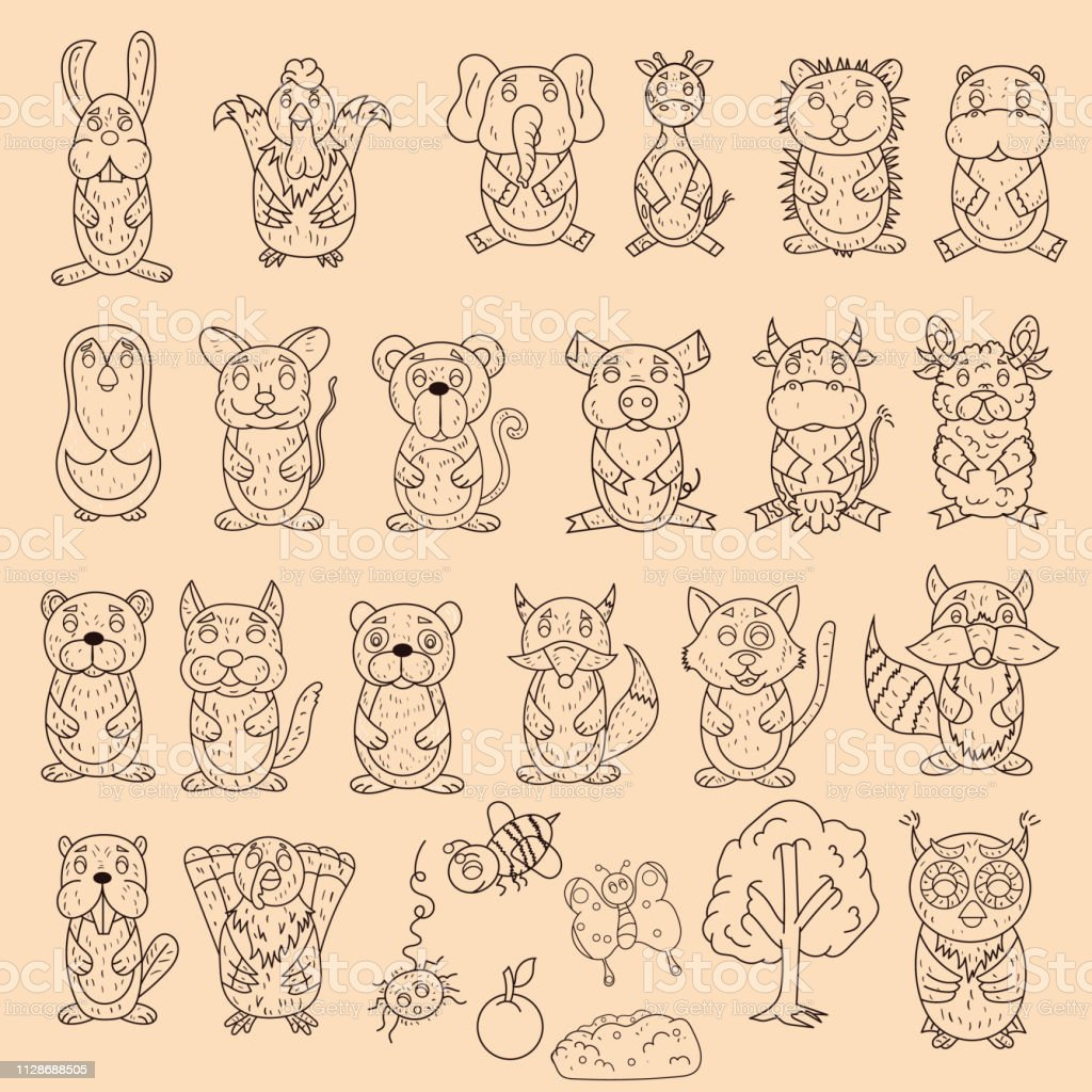 Large set of wild and domestic animals coloring pages in the style of childrens scribbles for design and design background is isolated illustration