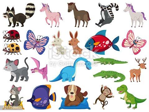 Large set of wild animals on white background illustration