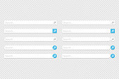 Large set of www search bar icons. Vector illustration in flat design