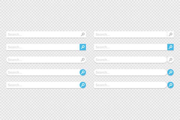 stockillustraties, clipart, cartoons en iconen met groot aantal www-zoekbalk pictogrammen. vector illustratie in plat ontwerp - bar tapkast
