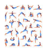 Large collection of basic yoga asanas. Vector illustration