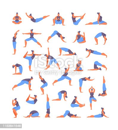 Large collection of basic yoga asanas. Vector illustration