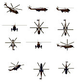 Large set with polygonal helicopters in different positions. Combat military helicopter. 3D. Vector illustration.