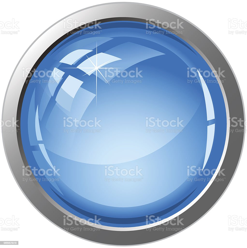 Large shiny effect round button like a lens royalty-free stock vector art