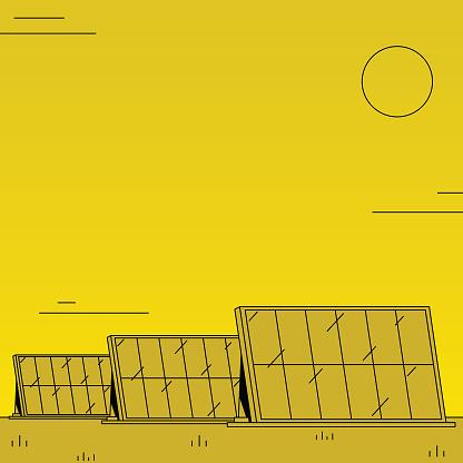 Large solar farm, generating renewable energy. Colorful two tones illustration with minimalistic shading.