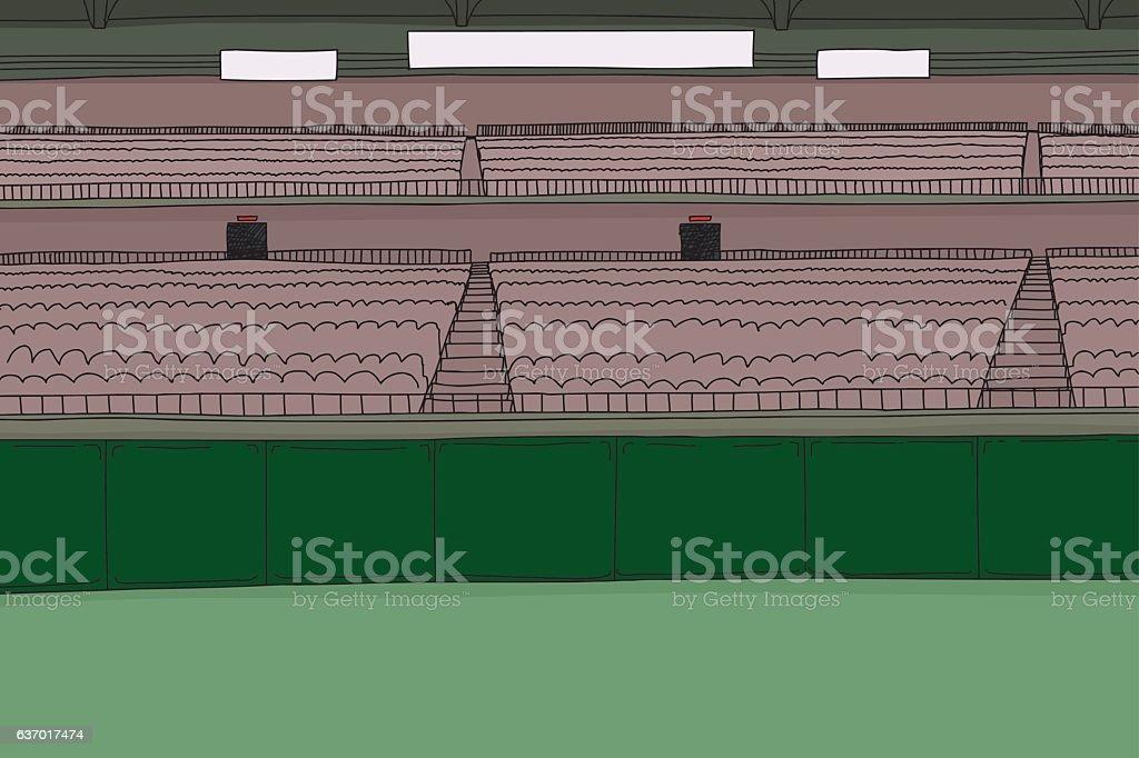 Large Stadium with Scoreboard vector art illustration