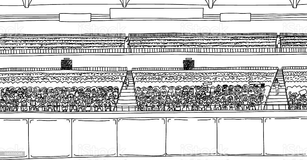 Large Stadium with Spectators as Outline vector art illustration