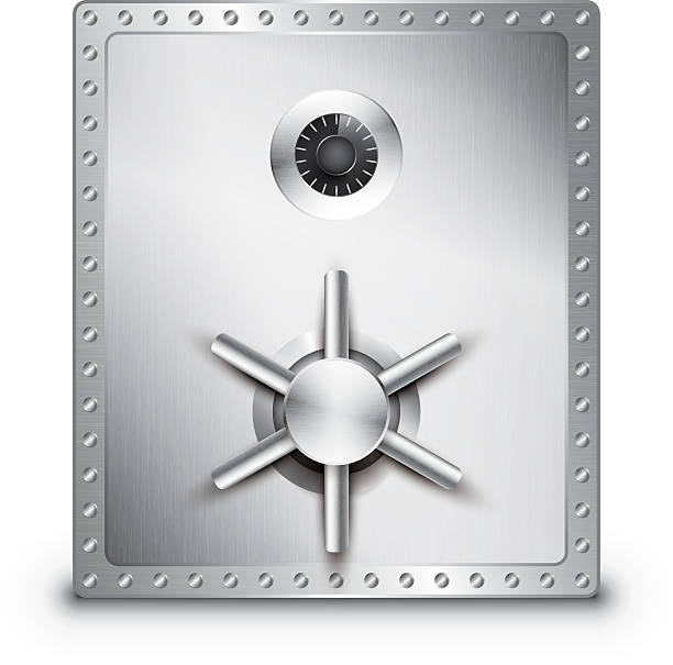 A large stainless steel locked safe on a white background Detailed vector illustration of a metal safe. Contains transparencies and is saved as EPS 10 format. safes and vaults stock illustrations