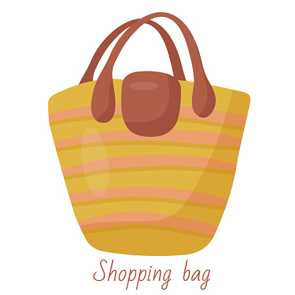 Large straw beach bag. Vector object for relaxing and carrying things. Casual style, comfortable bag for shopping. Fashionable women's accessory. Simple flat illustration