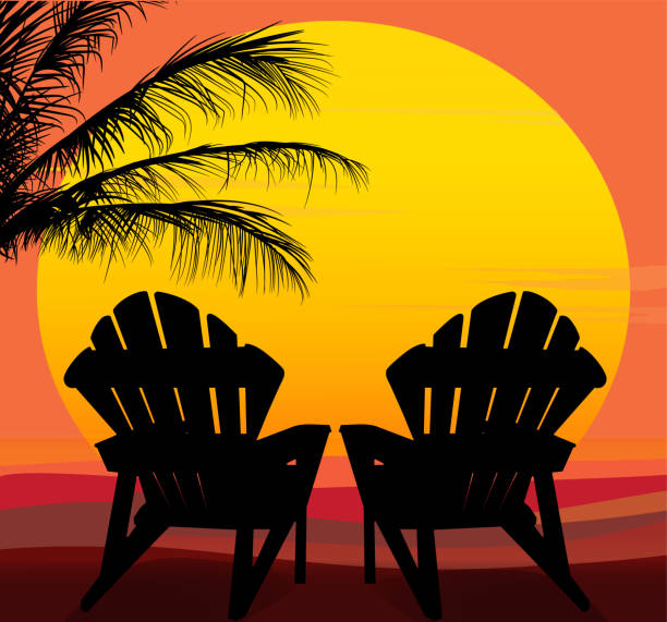 Large Sun with Silhouettes of Two Lounge Chairs in Foreground Silhouette of chairs and palms in front of a large yellow, orange, gold sun with colorful background. adirondack chair stock illustrations