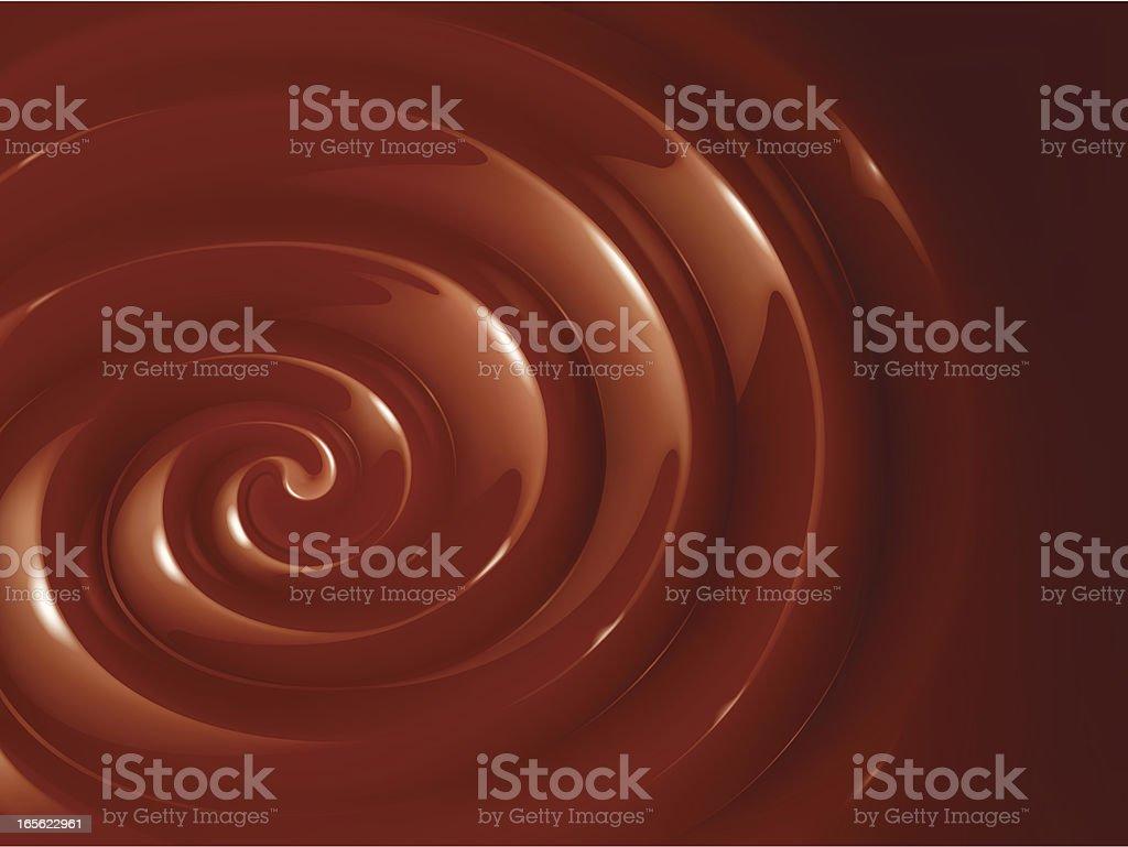 Large swirl of chocolate fondue vector art illustration