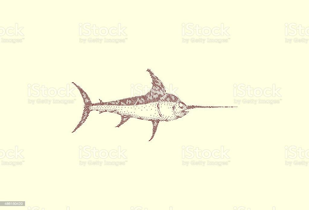 Large swordfish vector art illustration