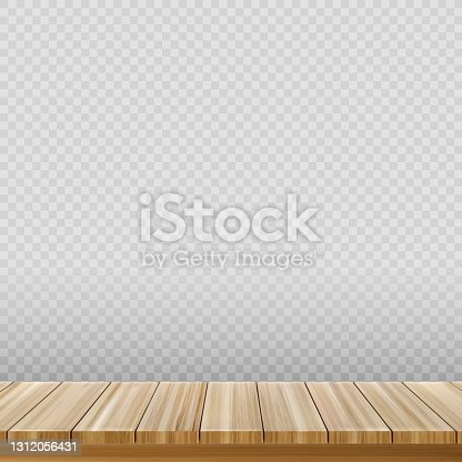istock Large table top, wooden texture from boards, transparent background - Vector 1312056431