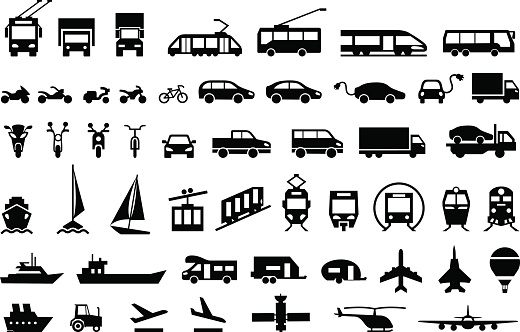 Large transport icons set. flat symbols vector