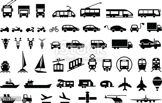 Large transport icons set. flat symbols vector illustration
