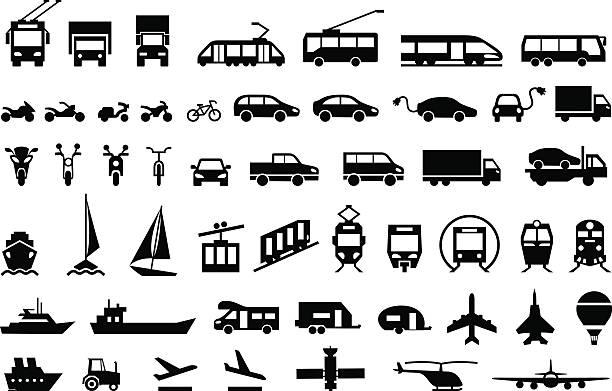 duży zestaw ikon transportu. wektor symboli płaskich - przewóz stock illustrations
