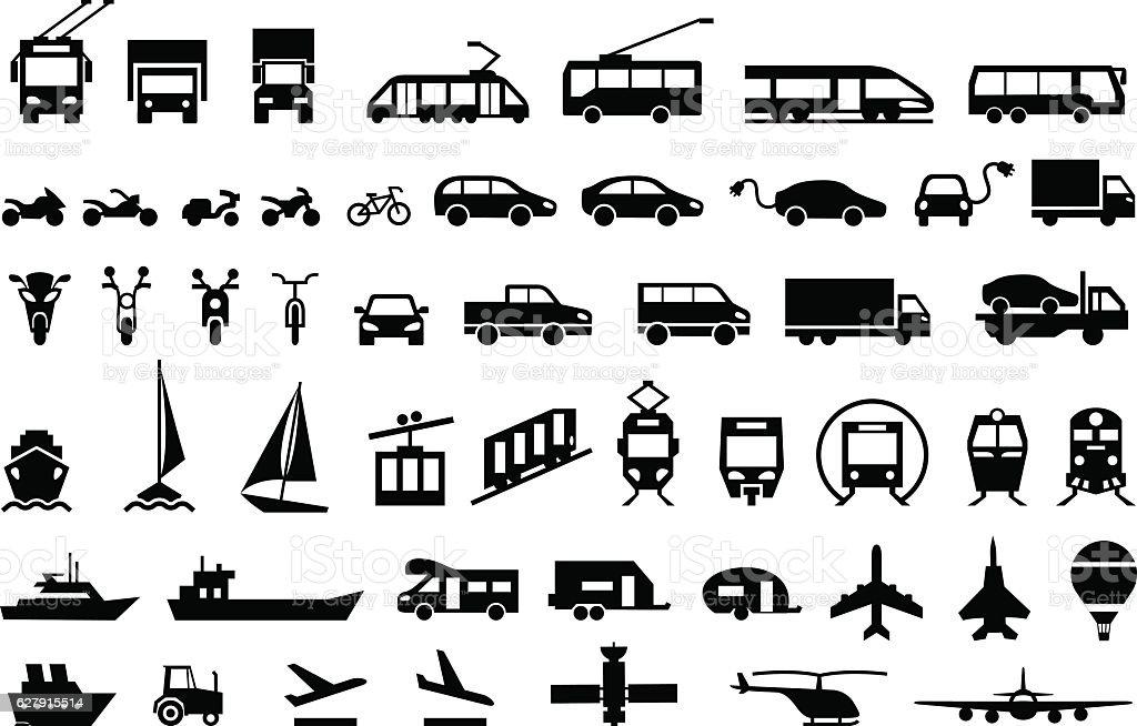 Large transport icons set. flat symbols vector - illustrazione arte vettoriale