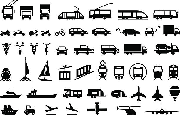 illustrations, cliparts, dessins animés et icônes de large transport icons set. flat symbols vector - train