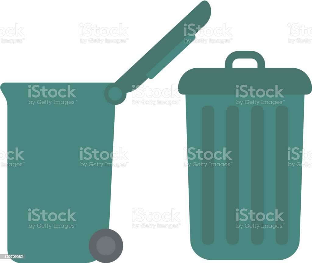 Large trash cans vector art illustration
