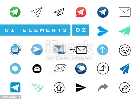 Large UI icon set about sending an e-mail or letter. Symbols in different styles such as flat, realistic, offline. A useful kit for a UI designer or developer.