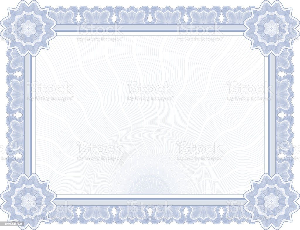 Large Vector Certificate / Diploma (BLUE) royalty-free stock vector art