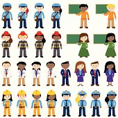 Large Vector Collection of Career and Professional People, including postal workers, teachers, firemen, doctors, dentists, business people, construction workers and police officers. No transparencies or gradients used. Large JPG included.