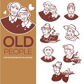 large vector collection of happy old people portraits for your icon, label, and emblems