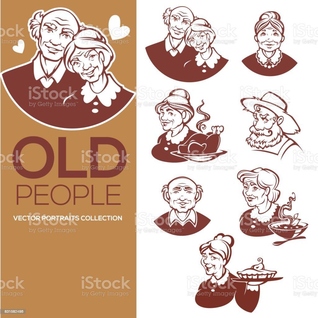 colección de vector grande de retratos de gente vieja feliz para su icono, etiqueta y emblemas - ilustración de arte vectorial