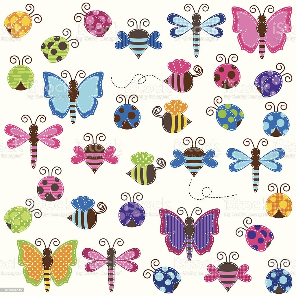 Large Vector Collection of Patchwork or Baby Shower Themed Bugs royalty-free stock vector art